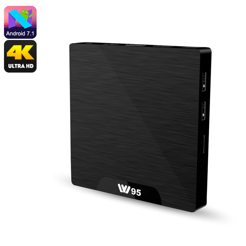 W95 Android TV Box - 4K Support, Android 7.1, Google Play, Kodi TV, Quad-Core CPU, WiFi, DLNA, Miracast