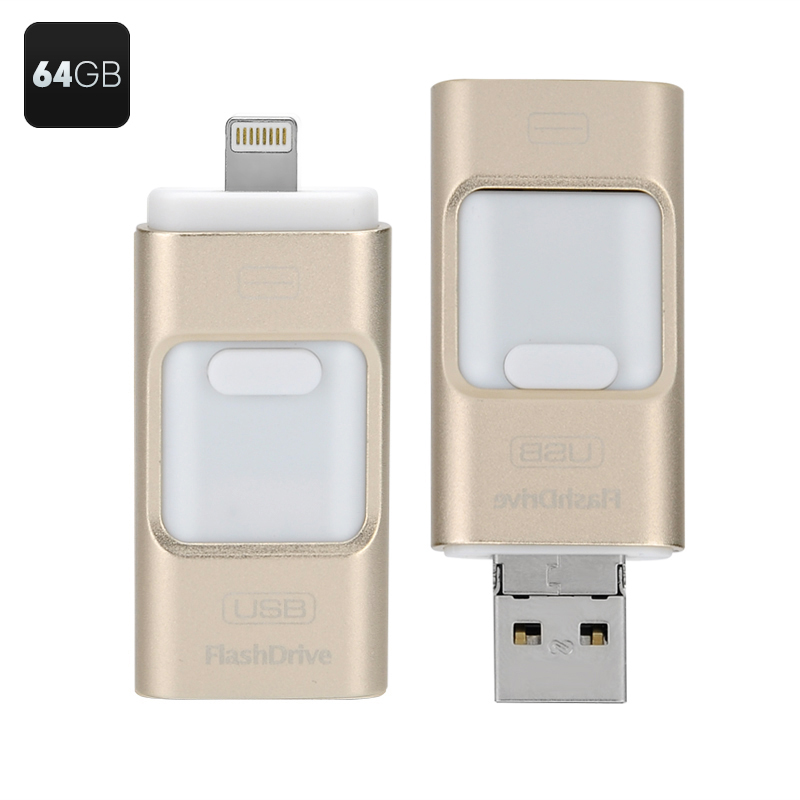 64GB Multi-functional USB Flashdisk - Triple iOS, Android, Windows Interface, High Speed USB 2.0