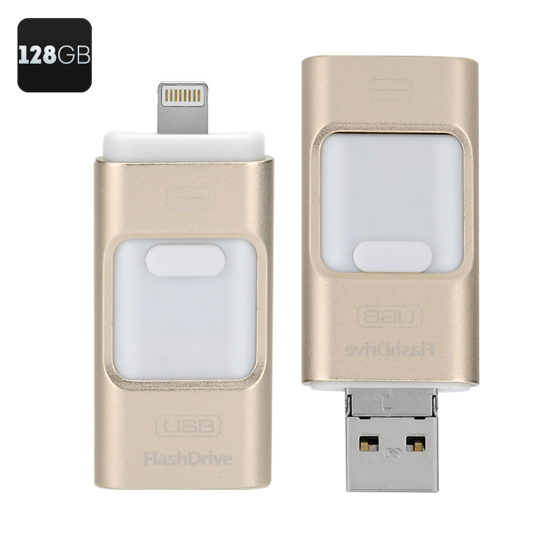 128GB Multi-functional USB FlashDrive - High Speed USB 2.0, Triple iOS, Android, Windows Interface