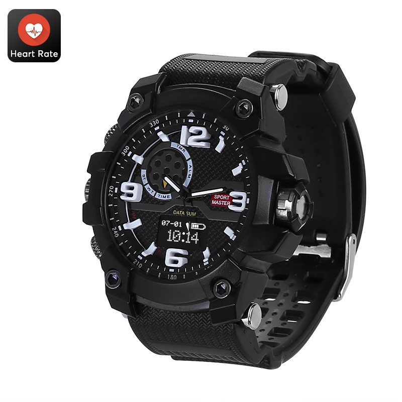 Rugged Outdoor Watch - IP67 Waterproof, Pedometer, Distance Tracker, Calorie Counter, Heart Rate, Blood Pressure, Sleep Monitor