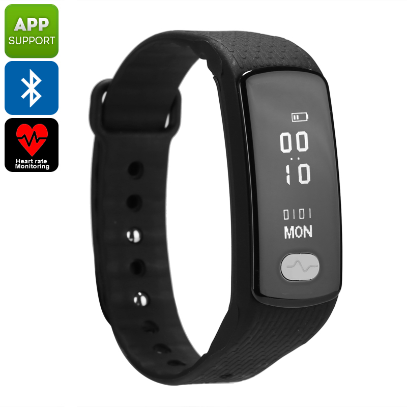 Bluetooth Fitness Tracker Bracelet - Pedometer, Heart Rate Monitor, Blood Pressure, Sleep Monitor, Calories Burned, App Support