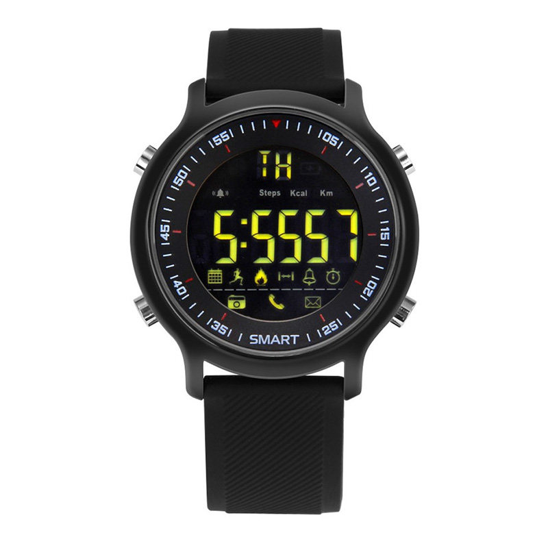 Bluetooth Watch - Up To 12 Months Battery Life, Call Reminder, Message Reminder, Pedometer, Social Media Reminder, IP67 (Black)