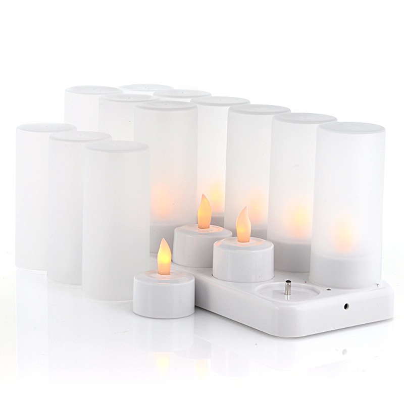 (M) x12LED Candles with Charging Dock - Cozy LEDs (M)
