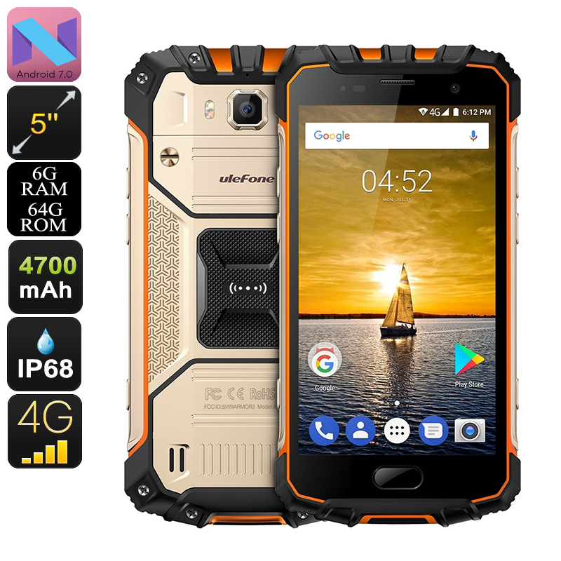 HK Warehouse Ulefone Armor 2 Android Phone - 6GB RAM, Dual-IMEI, Android 7.0, 5-Inch FHD, IP68 (Gold)
