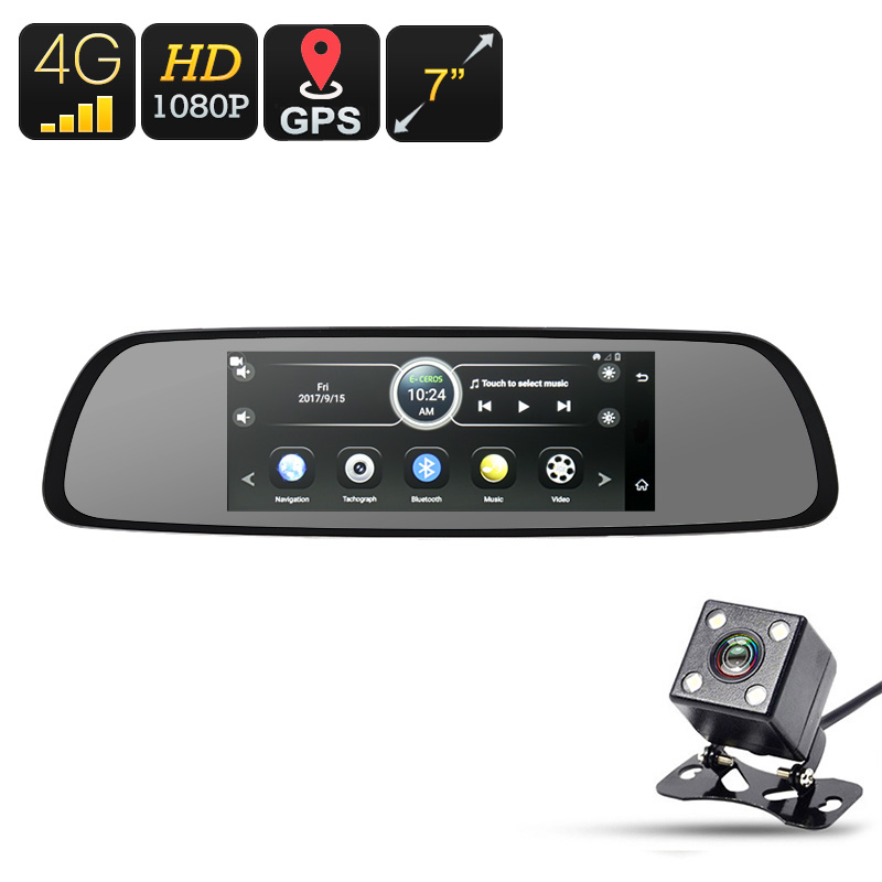 4G Car DVR - Android OS, 1080p Camera, Rear-View Parking Camera, 7-Inch Display, GPS, WiFi, Google Play, Quad-Core, G-Sensor