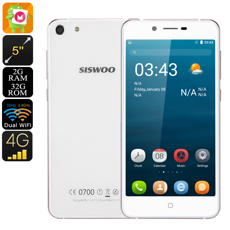 7.2mm CNC Metal Dual Glass Siswoo C5 Blade - 5 Inch HD Display, Android 6.0, 2GB RAM, 4G, Dual-Band WiFi, 2 IMEI (White)