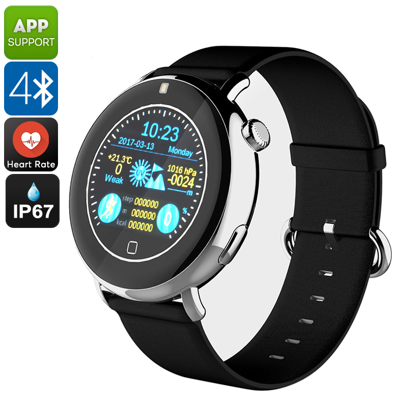Bluetooth Smart Watch EXE C7 - Phone Calls, Messages, Notifications, Pedometer, Heart Rate, Sleep Monitor, Touch Screen (Black)
