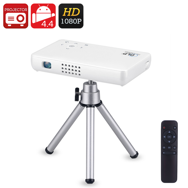Android Mini Projector GP1SUP - DLP Technology, Quad-Core CPU, 8GB Memory, 1080p Support, 2500mAh Battery, WiFi