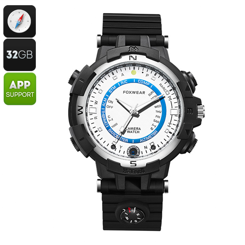 Foxwear FOX8 Outdoor Watch - 5MP Camera, Wi-Fi, iOS + Android App, Japanese Quartz Movement