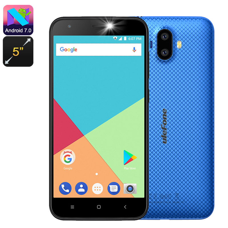 HK Warehouse Ulefone S7 Android Smartphone - Quad-Core CPU, Dual-IMEI, Android 7.0, 5-Inch Display, 3G (Blue)