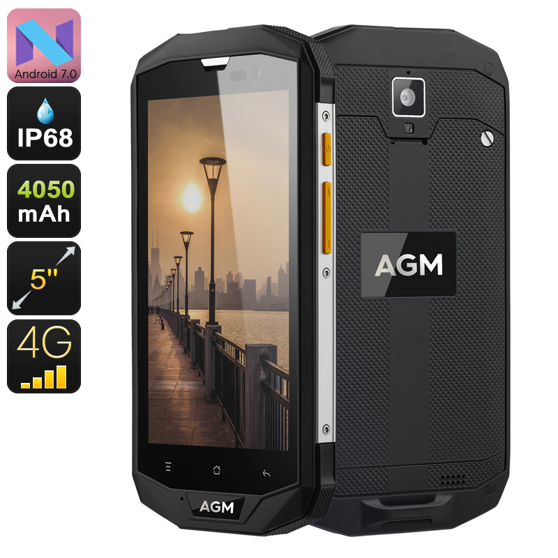 Rugged Android Phone AGM A8 SE - IP68, Android 7.0, Dual-IMEI, 4G, Quad-Core CPU, 2GB RAM, 1080p Display