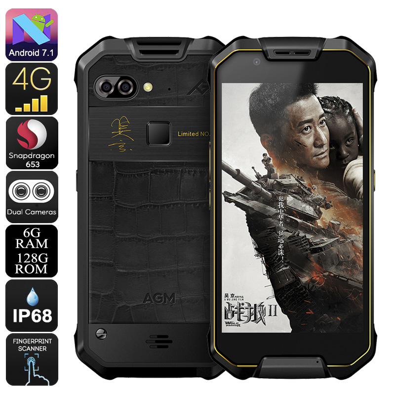 AGM X2 Rugged Android Phone - 5.5-Inch FHD, IP68, Android 7.1, Octa-Core CPU, 6GB RAM, 128GB ROM, Dual-IMEI, 4G (Gold)