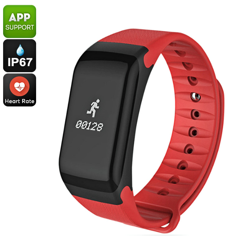 Fitness Tracker Bracelet - Heart Rate Monitor, Distance Counter, Pedometer, Blood Pressure, IP67 Waterproof (Red)