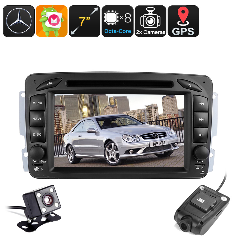2 DIN Android Car for Mercedes Benz - Region Free DVD, Dash Cam, 7 Inch touchscreen, Android 6.0, BT, Wi-Fi, Hands Free, DAB