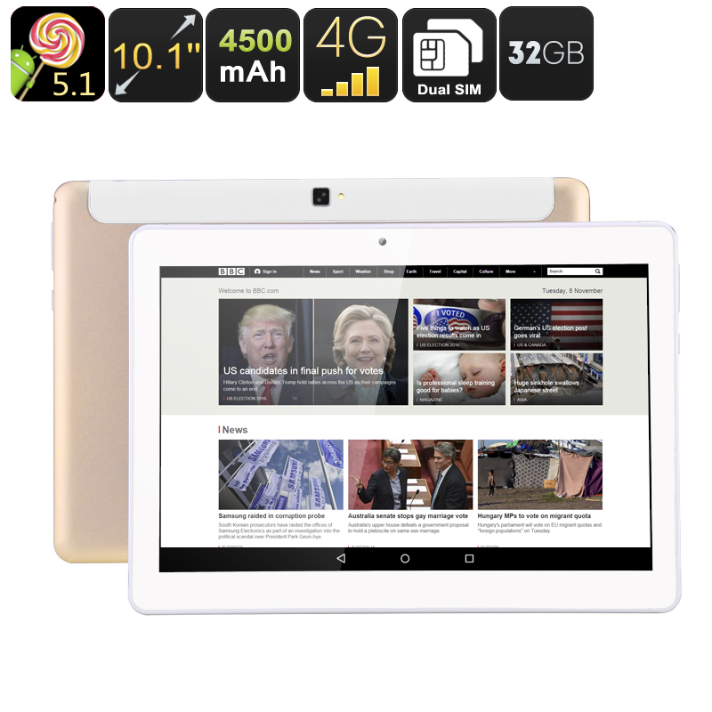 10.1 Inch Tablet PC - Dual-SIM, Quad-Core CPU, OTG, Android 5.1, 32GB Memory, 4500mAh Battery
