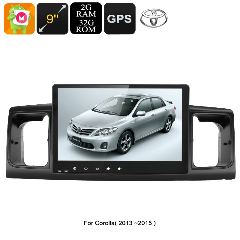 2 DIN Car Stereo - For Toyota Corolla, 9 Inch Display, Android 6.0, GPS, WiFi, 3G Support, CAN BUS, Octa-Core CPU, 4GB RAM