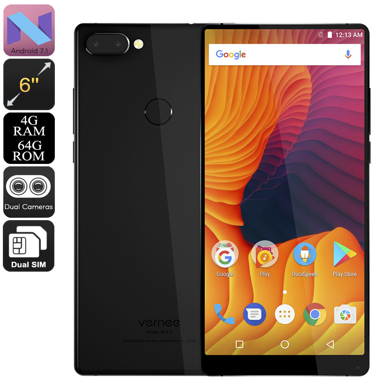 HK Warehouse Vernee Mix 2 Android Phone - Octa-Core, 4GB RAM, 6-Inch Bezel-Less 2K Display, 4G, Android 7.1 (Black)
