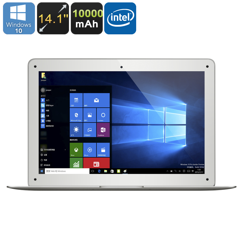 Jumper EZbook 2 Ultrabook Laptop - Licensed Windows 10, 14.1 Inch FHD Display, Intel Cherry Trail Z8300 CPU, 4GB RAM, 10000mAh