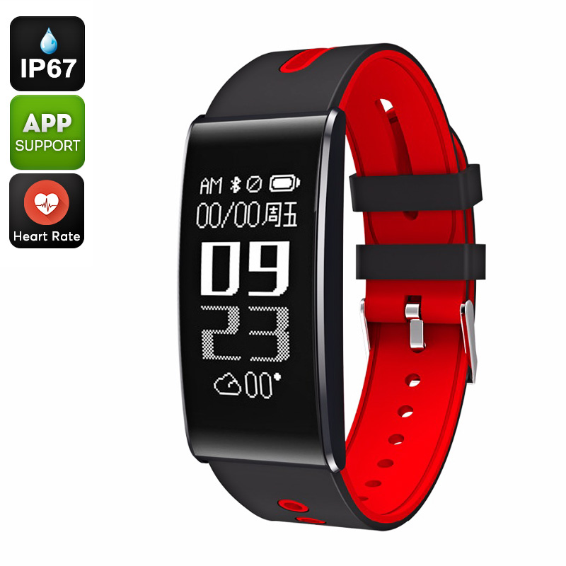 ORDO S13 Fitness Tracker Bracelet - Heart Rate, Calorie Counter, Bluetooth 4.0, Blood Pressure, Pedometer, IP67, App (Red)