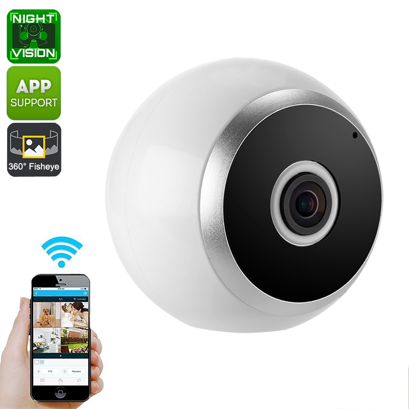 360-Degree IP Camera - Motion Detection, Wireless, Night Vision, App Support, SD Card Recording, HD Resolution, WiFi