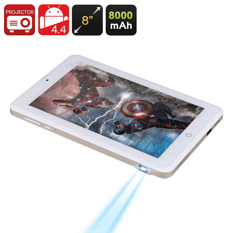 Android Projector Tablet - 8 Inch 1280x800 Screen, RK3188 Quad Core CPU, 100 Lumens DLP Projector, 8000mAh Battery