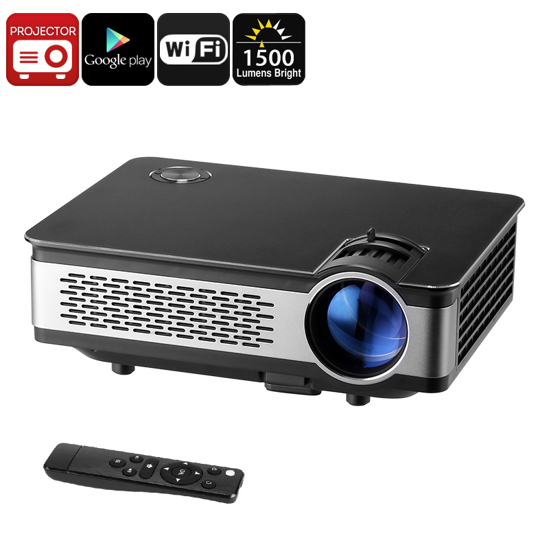 Android HD Projector - 1500 Lumen, 1280x768p, Android OS, 1GB RAM, 1080p Support, 120W LED, WiFi, Built-in Speaker, Google Play