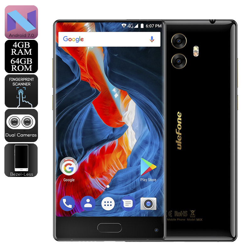 HK Warehouse Preorder Ulefone MIX Android Phone - Android 7.0, Bezel-Less, Dual-IMEI, 4G, 13MP Dual-Rear Camera, 4GB RAM (Black)