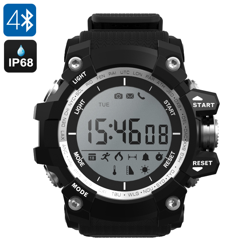 NO.1 F2 Outdoor Bluetooth Watch - IP68, Altimeter, Thermometer, Pedometer, Stopwatch, App Support, Call Reminder (Black)