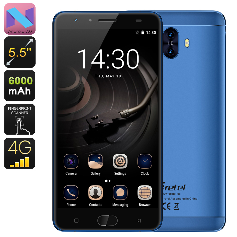 HK Warehouse Gretel GT6000 Android Phone - Android 7.0, Quad-Core CPU, 2GB RAM, 5.5 Inch, 6000mAh, 4G, Dual Rear Camera (Blue)
