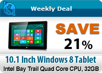 10.1 Inch Windows 8 Pro Compatible Tablet with Intel Bay Trail 1.6GHz Quad Core CPU, 32GB SSD Memory, 2GB RAM