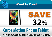 Ceros Motion 7 Inch Quad Core Phone Tablet with 1280x800 HD IPS Display, 1.2GHz CPU, HDMI Port, 3G