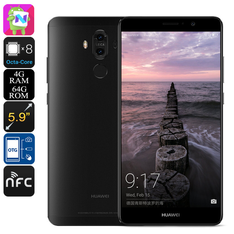 Huawei Mate 9 Android Smartphone - Android 7.0, Leica Dual-Camera, Octa-Core CPU, 4GB RAM, 5.9-Inch Display, OTG (Black)