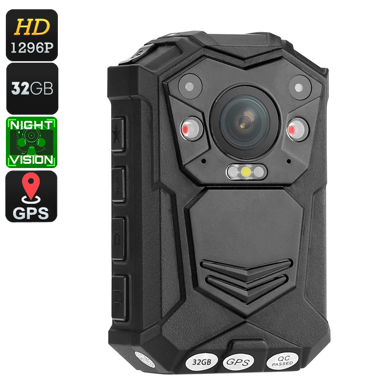 Police Body Worn Camera - 10M Night Vision, 1296p, 140 Degree Lens, CMOS Sensor, IP65 Waterproof, 2 Inch Display, Time Stamp