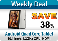 Android Quad Core 1.2GHz Tablet with 10.1 Inch + 8GB Memory + HDMI