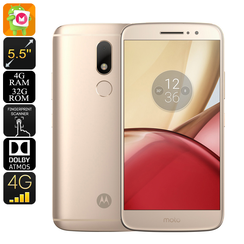 Lenovo Moto M Android Smartphone - Android 6.0, Dual-IMEI, 4G, Fingerprint, Octa-Core CPU, 4GB RAM, 5.5-Inch Display (Gold)