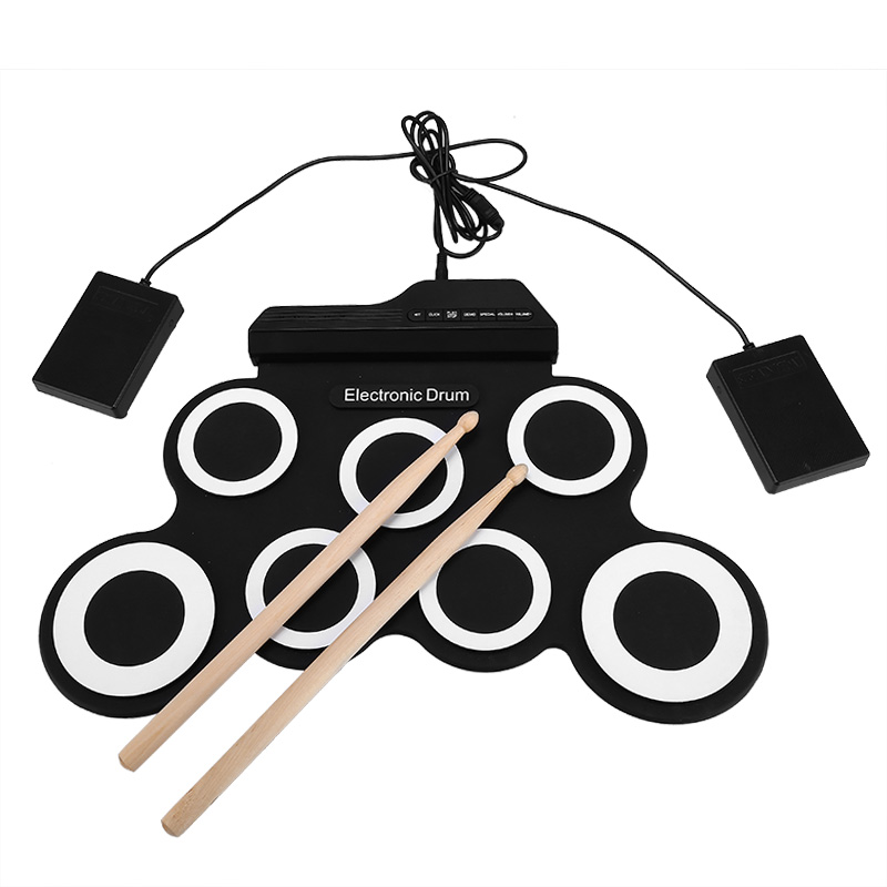 Foldable Silicone Drum - 7 Pads, 2 Foot Padels, Head Phone Jack, Realistic Sound