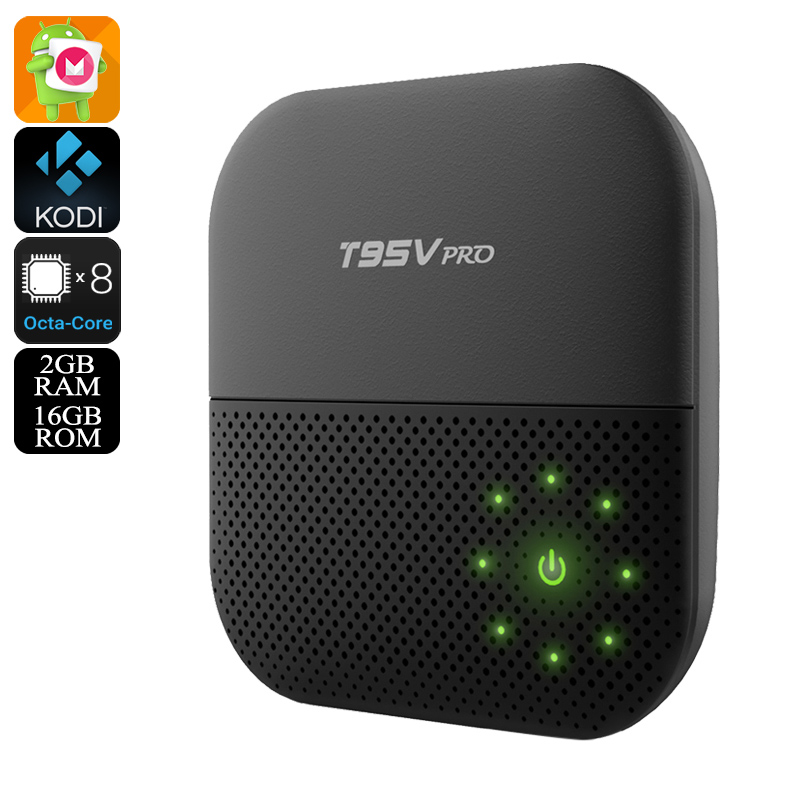 Sunvell T95V Pro Android TV Box - Android 6.0, 4K Movie Support, Octa-Core CPU, Google Play, Kodi TV, 2GB RAM, Wi-Fi