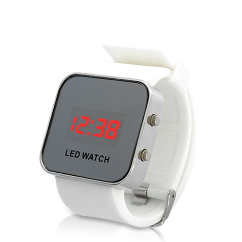 (M) Mirror LED Watch with Rubber Strap (M)
