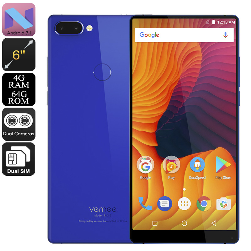 HK Warehouse Vernee Mix 2 Android Phone - 6-Inch Bezel-Less 2K Display, Android 7.1, Octa-Core, 4GB RAM, 4G (Blue)