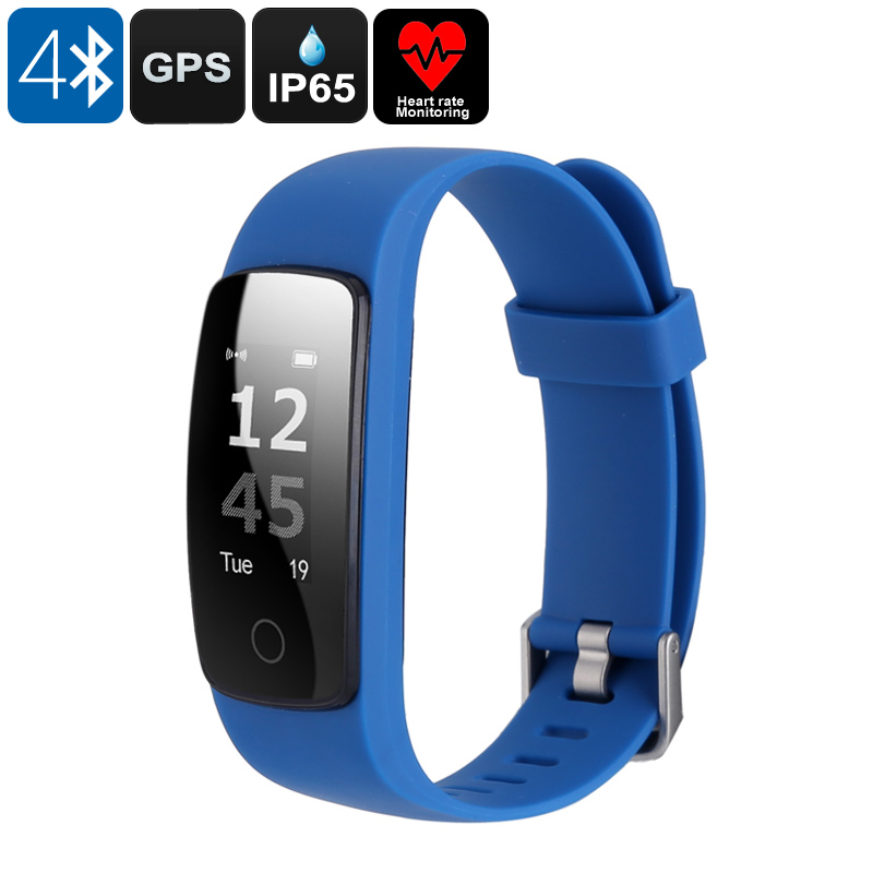 Bluetooth Fitness Band - 0.96 Inch OLED Display, Heart Rate Monitor, GPS Connect, Bluetooth 4.0, IP65, Sedentary Alert (Blue)