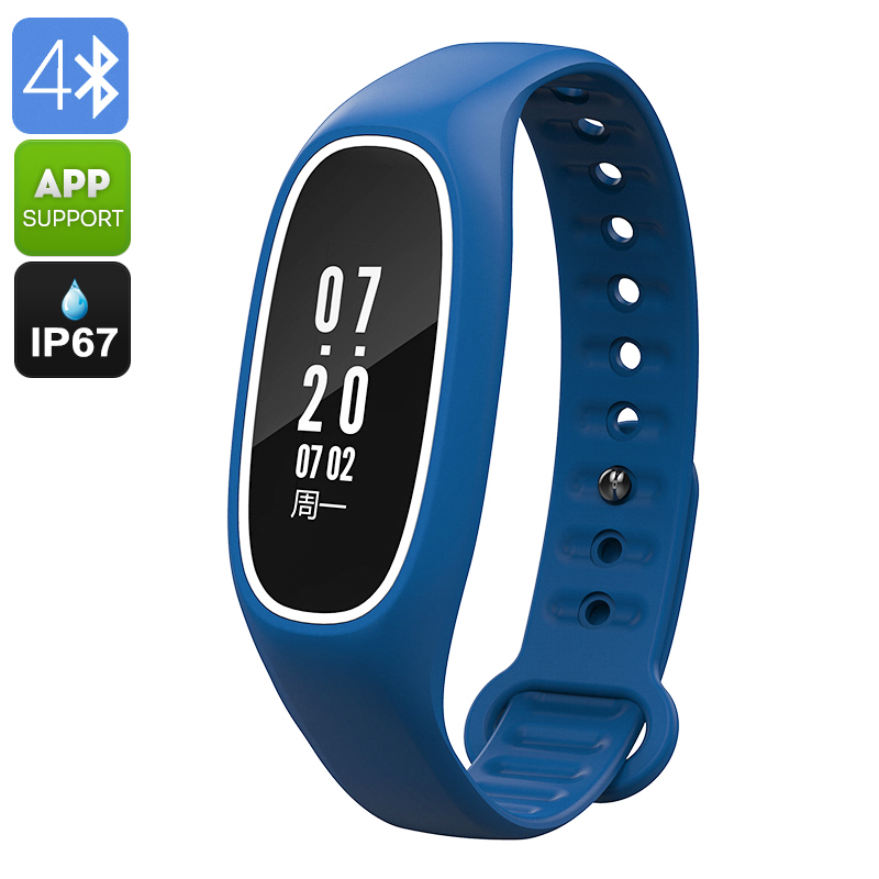 Fitness Tracker Bracelet DB01 - IP67, Heart Rate, Blood Pressure, Pedometer, Calorie Counter, Call Reminder, Mobile App  (Blue)