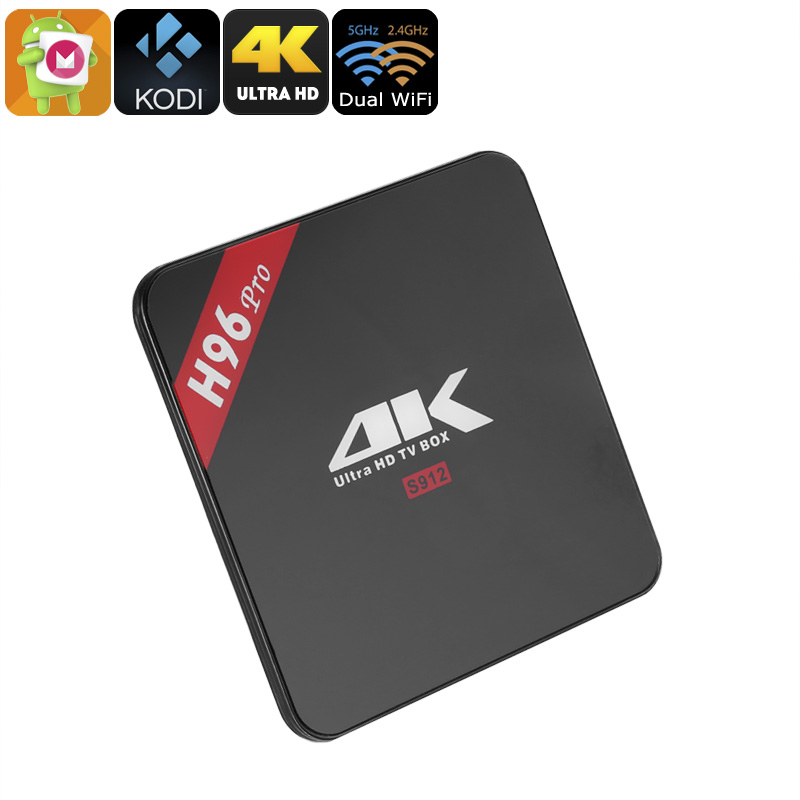 H96 Pro Android TV Box - Amlogic S912 1.5GHz, 2GB RAM, 4K, Android 6.0, Kodi 17.0, Dual Band Wi-Fi, H.265 Decoding