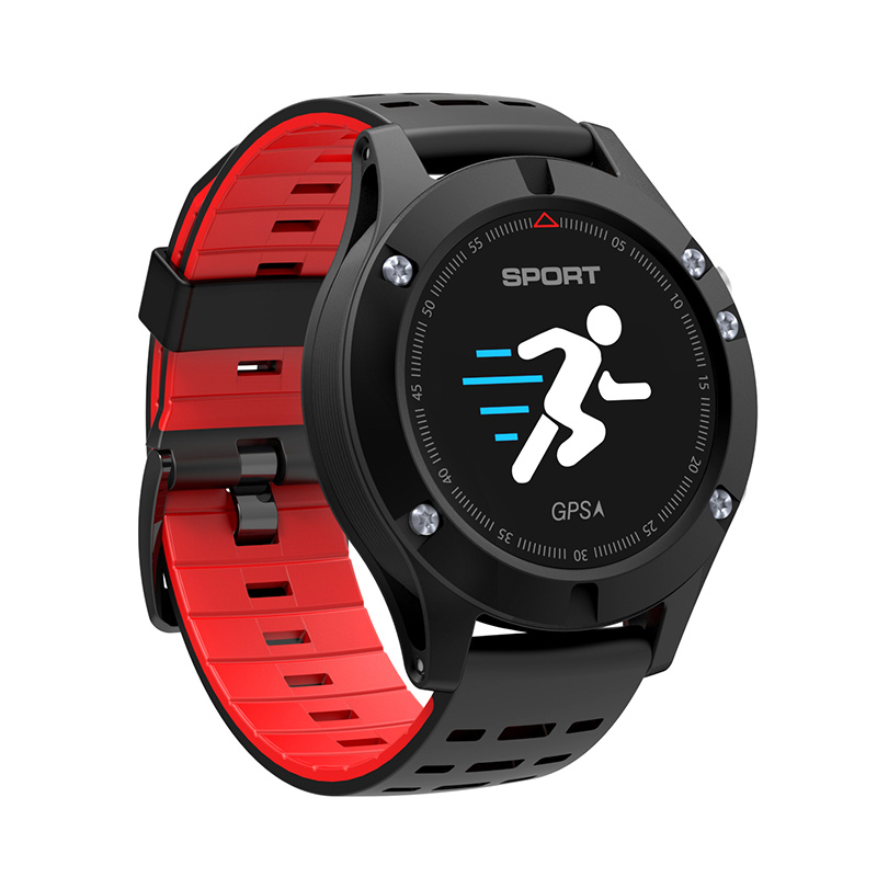 No 1 F5 Bluetooth Watch - Heart Rate, Pedometer, Thermometer, Barometer,  Altimeter, IP67, APP (Red)
