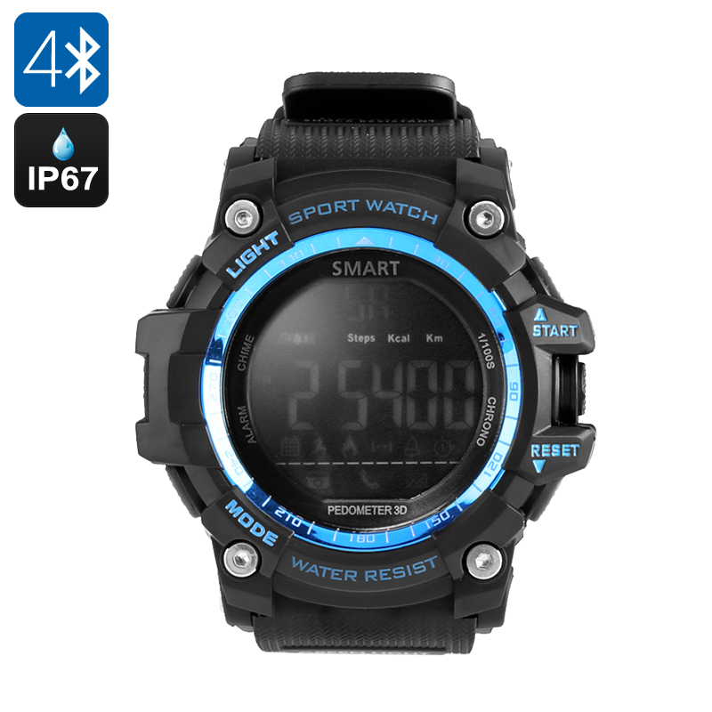 Outdoor Sports Watch - Calories Burned, Pedometer, IP67 Waterproof, Bluetooth 4.0, Social Notifications (Blue)