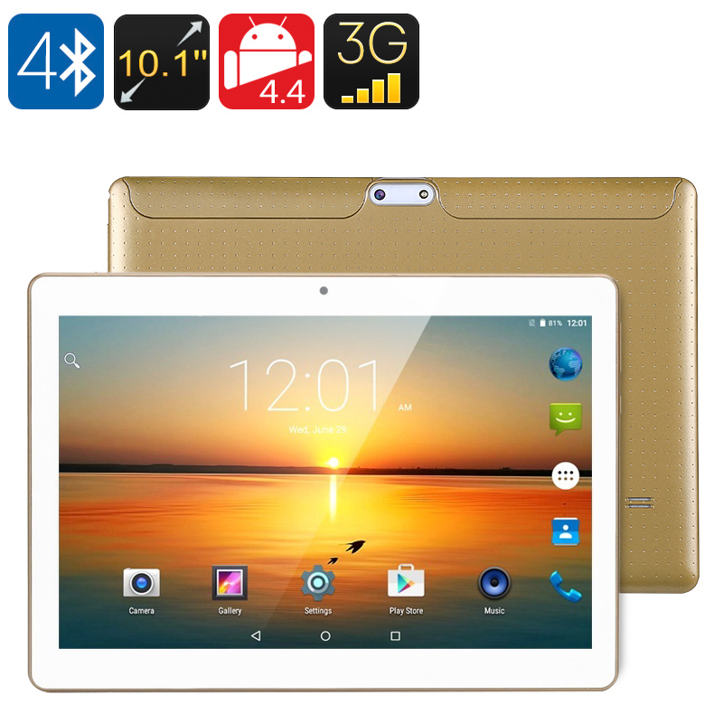 10.1 Inch 3G Tablet - Qua dCore CPU, Android OS, OTG, Dual SIM, HD IPS Display, 4500mAh Battery, Google Play (Gold)
