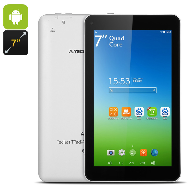 Android Tablet PC - Quad-Core CPU, 8GB Internal Storage, 16GB SD Card Slot, 7-Inch LCD, 2000mAh, WiFi, 0.3MP Camera