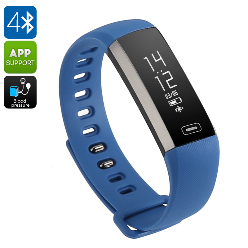 Fitness Tracker Bracelet M2S - Heart Rate, Pedometer, Calorie Counter, IP67, Blood Pressure, Blood Oxygen (Blue)