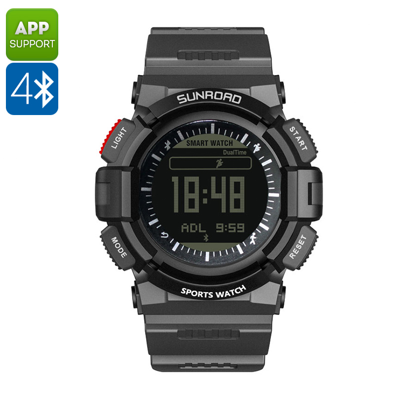 SUNROAD FR9211B Sports Watch - Bluetooth, App Control, Heart Rate Monitor, Weatherproof, Backlight, Sleep Monitor
