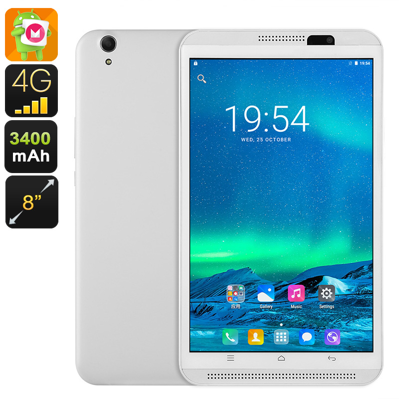 4G Tablet PC - Dual-IMEI, Android 6.0, Quad-Core CPU, 2GB RAM, 8-Inch Display, 3400mAh, 5MP Camera, Google Play