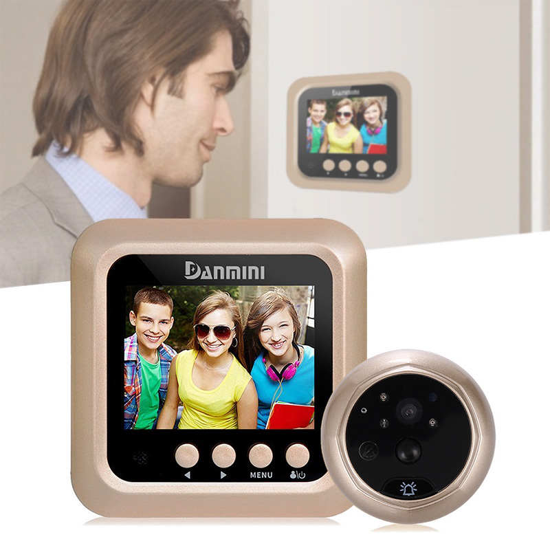 Peephole Camera - 2.4-Inch Display, 1MP CMOS, 160-Degree Angle, Night Vision, IR Cut, 3 Usage Modes, SD Card, Motion Detection